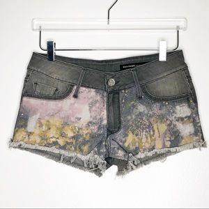 Black Orchid | Gray Paint Splatter Denim Shorts 27